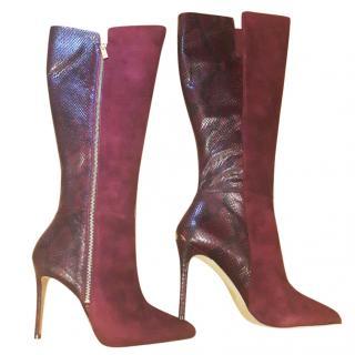 Michael  Michael Kors Plum Reptile Print Leather Knee Boots