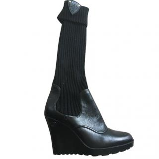 Gucci Black wedge sock Leather Boots 41