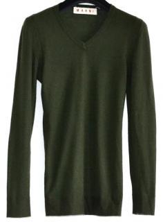 Marni cashmere v-neck fitted olive jumper