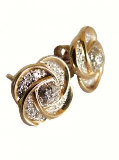 Gold & diamond rose stud earrings