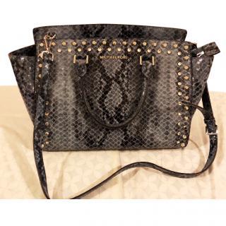 Michael Michael Selma Studded Snakeskin Embossed Bag