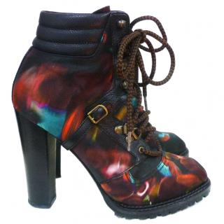 Nicholas Kirkwood for erdem print ankle lace up boots