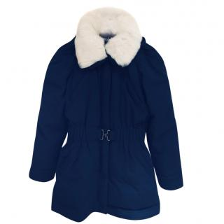 Moloh blue parka with detachable white fur collar