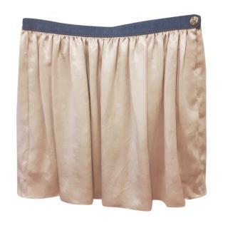 Sonia Rykiel Cream Silk Mini Skirt Size M