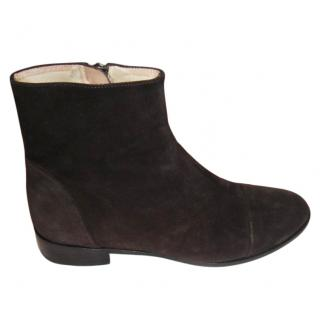 Bimba & Lola dark brown suede ankle boots