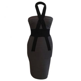 Herve Leger grey and black halter neck dress