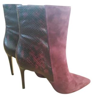 Michael Kors Red Leather Suede Ankle Boots. Size UK 9.5