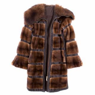 Birger Christensen Mink Panelled Coat