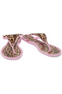 Roberto Cavalli pink leopard flip flops
