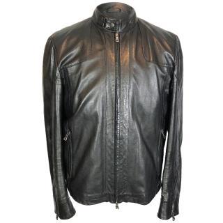 Hugo Boss Clay Leather Cafe Racer Biker Jacket
