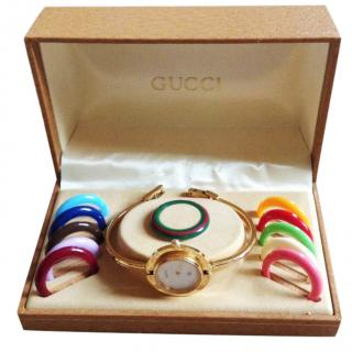 Gucci bangle gold plated watch with box