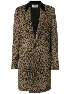 Saint Laurent tailored single breasted coat leopard print.