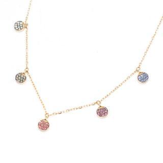 Swarovski Multi- coloured Crystal Gold Plated Necklace