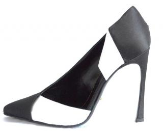 Sergio Rossi  black-white satin shoes