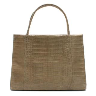 Nancy Gonzalez Beige Crocodile Leather Top Handle Bag
