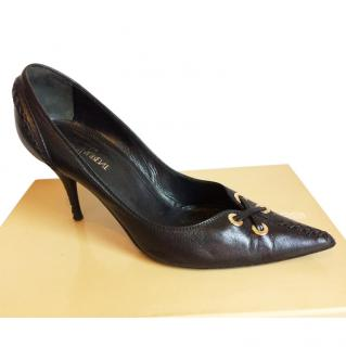 YSL black leather pumps/shoes