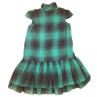 Polo Ralph Lauren Green & Black Checked Girls Dress Size 7 years.
