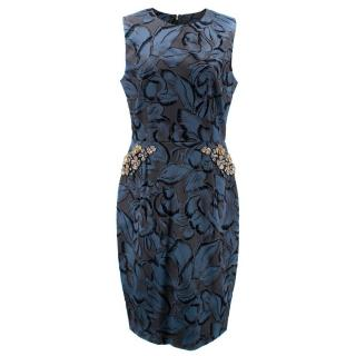 Vera Wang Collection Marine Blue Floral Embroidered Dress
