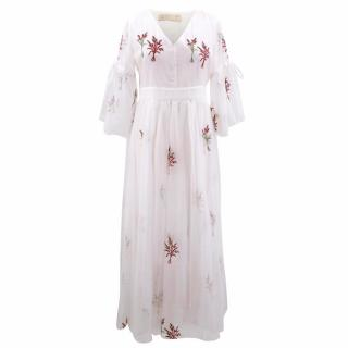 Jianshan White Embroidered Maxi Dress