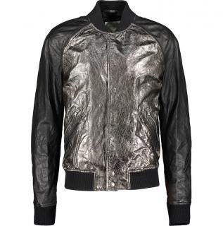 Pierre Balmain cracked silver leather bomber jacket IT50