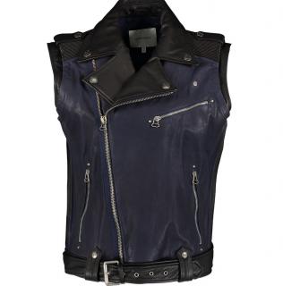 Pierre Balmain Black NavSleeveless Biker Leather Jacket Size IT50
