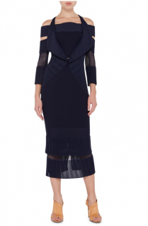 Roland Mouret Brewer Navy Blue Cold- shoulder Cardigan
