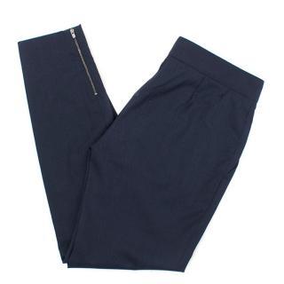 Stella McCartney Navy Blue Straight Leg Wool Trousers