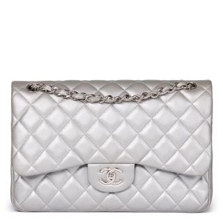 Chanel Classic Silver Metallic Quilted Lambskin Jumbo Double Flap Bag