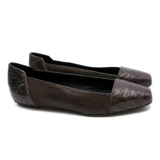 KarinaIK Brown Crocodile Leather Flats