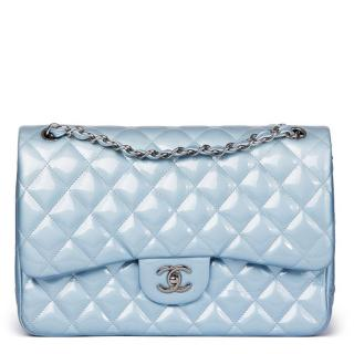 Chanel Sky Blue Quilted Iridescent Patent Double Flap