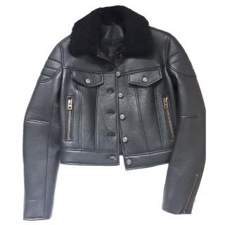 Coach black padded leather biker jacket