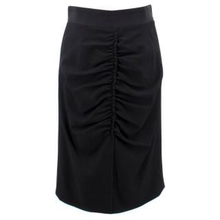 Dolce & Gabbana Black Ruched Front Wool Skirt