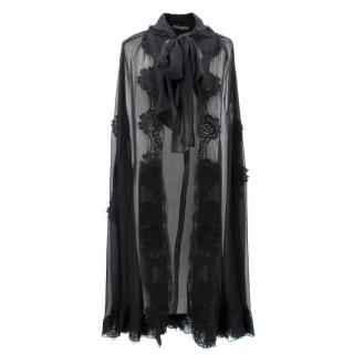 Dolce & Gabbana Black Floral Embroidered Silk Cape