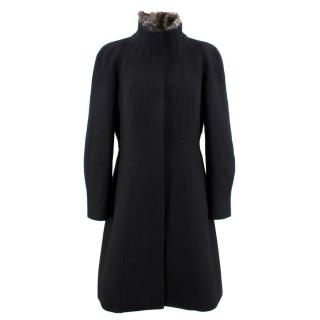 Roberto Cavalli Black Cashmere Coat with Chinchilla Fur Collar