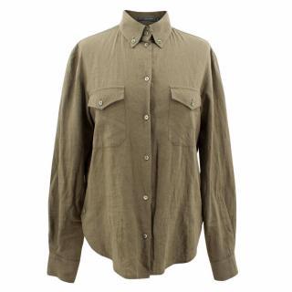 Alexander Mcqueen Khaki Linen Shirt