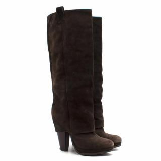 Ash Suede Heeled High Boots