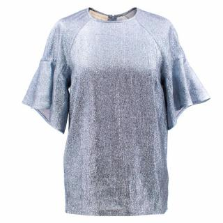 Stella McCartney Silk Blend Metallic Blue Top