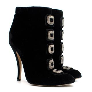 Manolo Blahnik Black Crystal Buckle Velvet Ankle Boots
