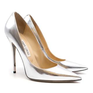 Jimmy Choo Silver 'Abel' Pointed Pumps