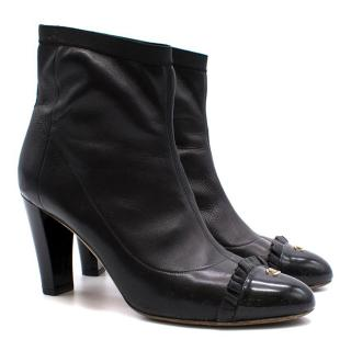 Chanel CC Black Leather Ankle Boots
