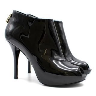 Louis Vuitton Patent Peep-toe Ankle Boots