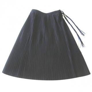 Alberta Ferretti Long Black Pleated Skirt