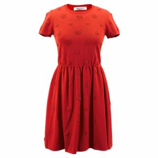 Valentino Crepe Red Dress with Floral Applique