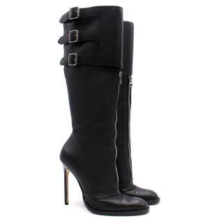 Manolo Blahnik Black Leather Long Boots