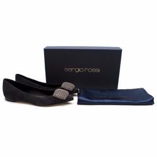 Sergio Rossi Suede Ballet Flat With Silver Buckle