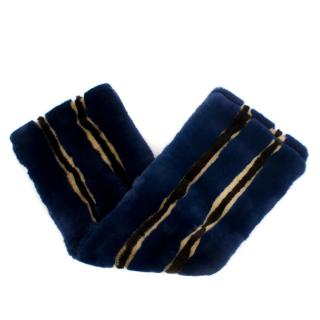 Marni Blue and Yellow Mink and Rabbit Fur Scarf