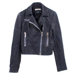 J Brand Navy Cropped Leather Jacket