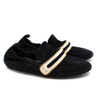 Lanvin Black Souple Mocassin Suede Loafers