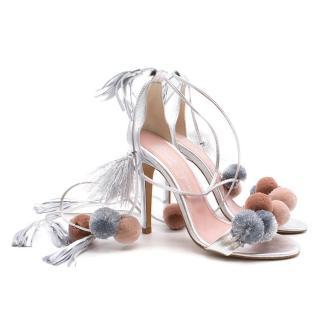 Alameda Turquesa Silver Metallic Pom Pom Sandals