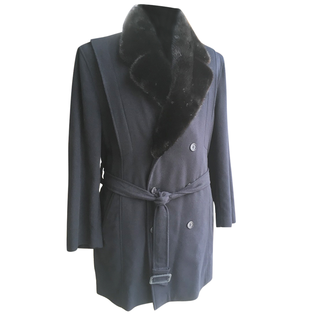 Brian Midnight Blue Cashmere coat with Mink Collar and Silk Lining